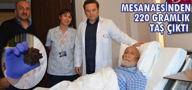 MESANAESİNDEN 220 GRAMLIK TAŞ ÇIKTI
