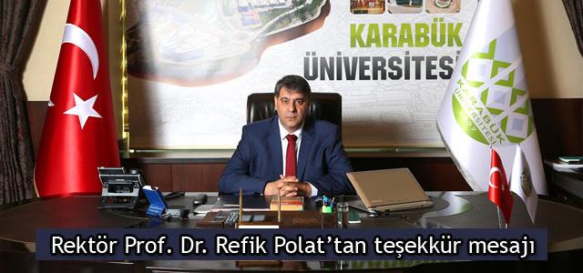 Rektör Prof. Dr. Refik Polat'tan teşekkür mesajı