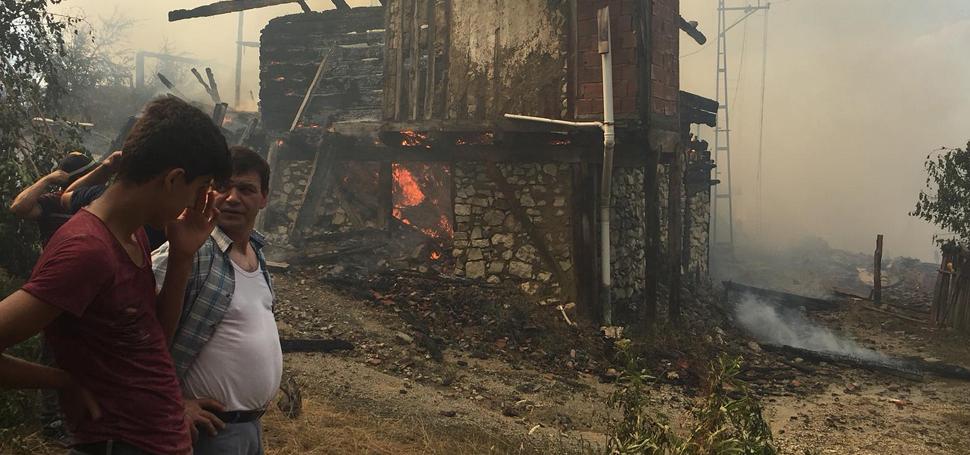 Ovacık'taki yangında cami, köy odası ve 6 ev yandı