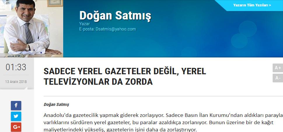 """""""Anadolu'da gazetecilik ve televizyonculuk yapmak giderek zorlaşıyor"""""""