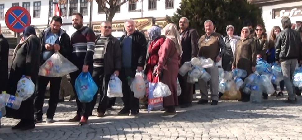 Safranbolu'da 50 bin plastik şişe toplandı
