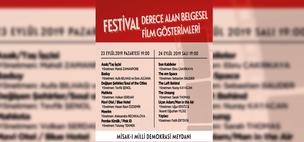 Belgesel Filmler 23 Eylülden İtibaren Gösterime Giriyor