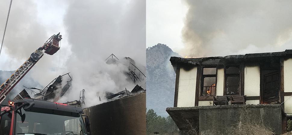 Karabük'te çıkan yangında 3 katlı iş yerinde hasar oluştu