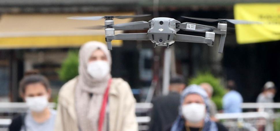 Düzce'de Drone İle Maske Denetimi Yapıldı